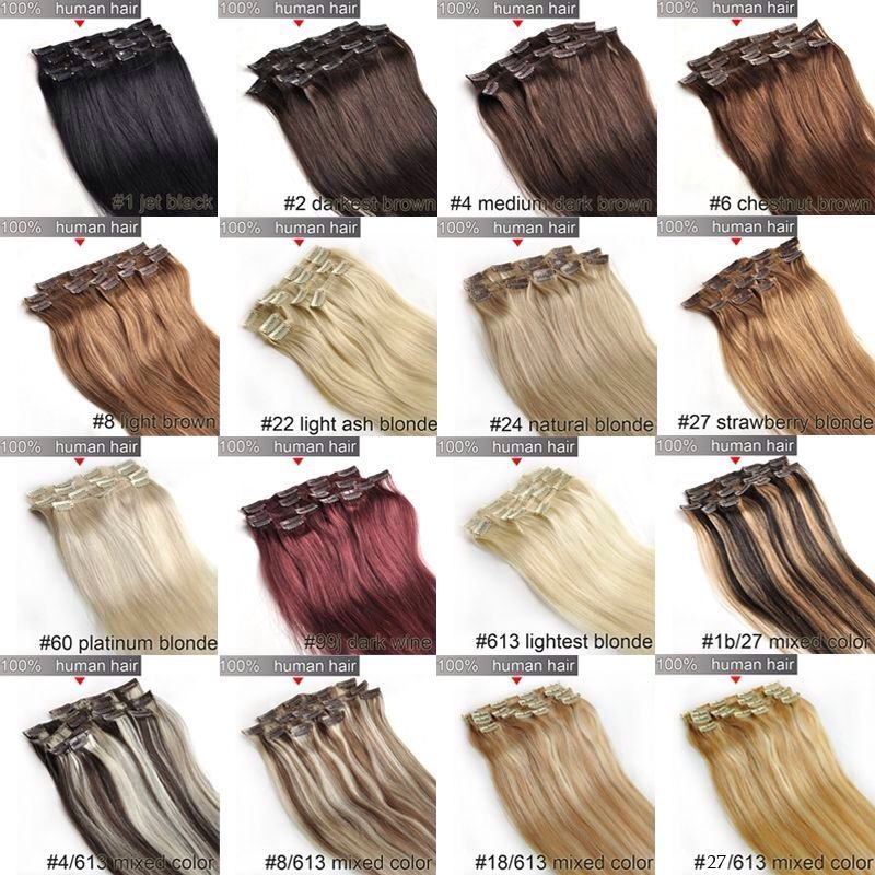 Clip In Human Hair Extensions Colours