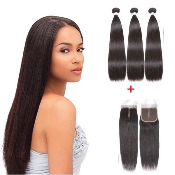 3-lot-Tissage-Droit-Lisse-Cheveux-Vierge-et-4X4-Closure
