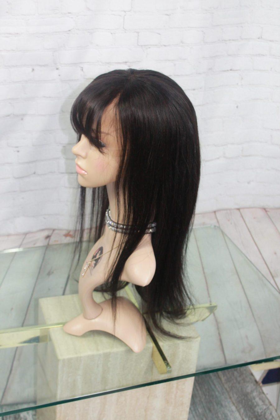 Perruque-Longue-18po-Cheveux-Humains-avec-Frange-Canada